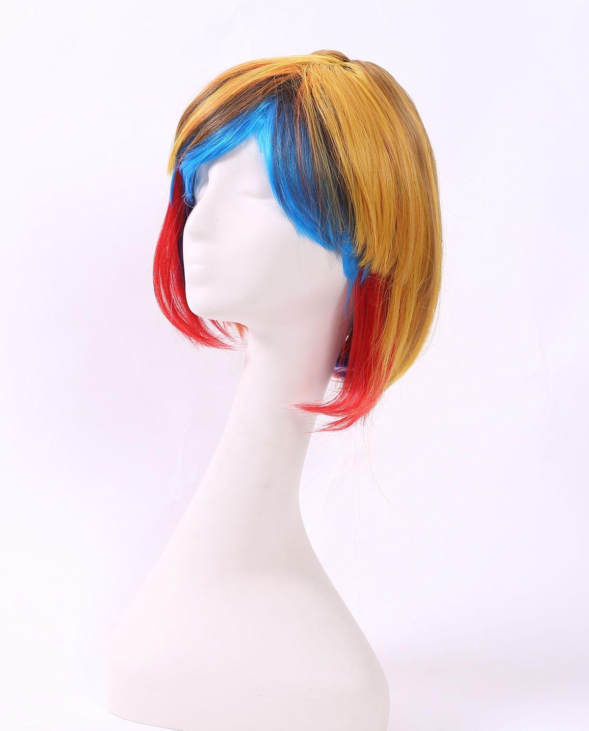 外贸热销化纤假发女彩色蓝色短发BOB头学生发自然高温丝头套批发