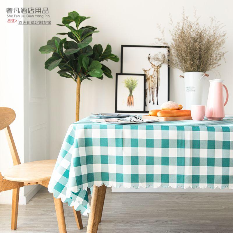 格子桌布防水防烫防油家用长方形小清新免洗台布北欧风茶几餐桌布