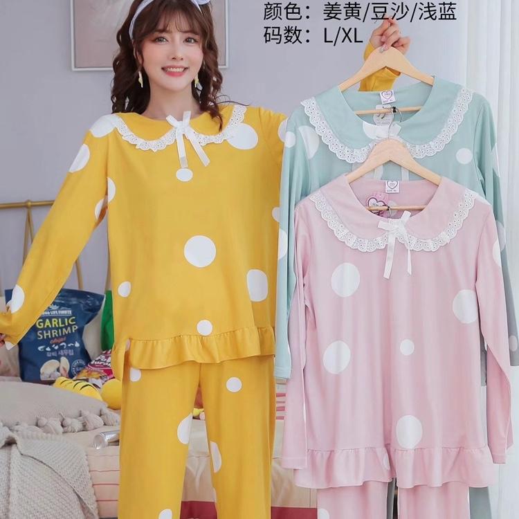 2020爆款秋季新款韩版时尚睡衣潮流女装宽松圆领长袖套头卡通动物大圆点睡衣套装