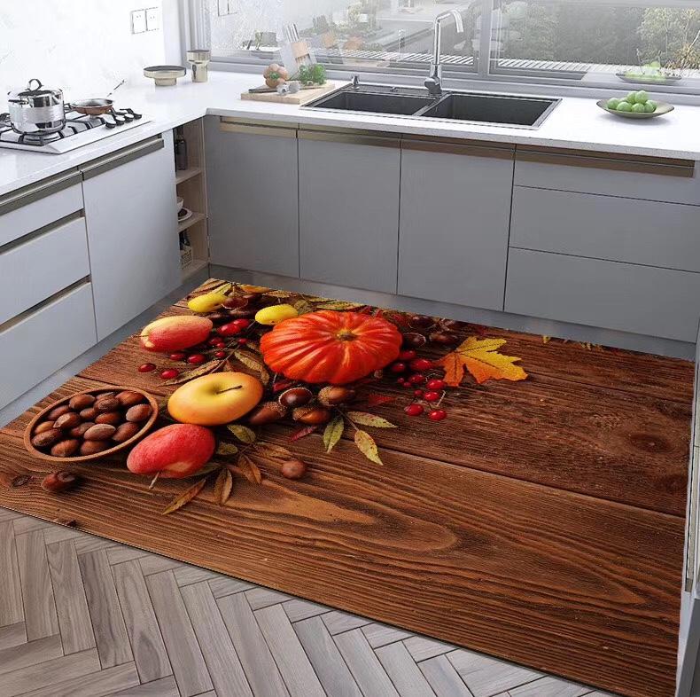 厨房系列地毯水果蔬菜印花厨房垫防滑吸水加厚地毯