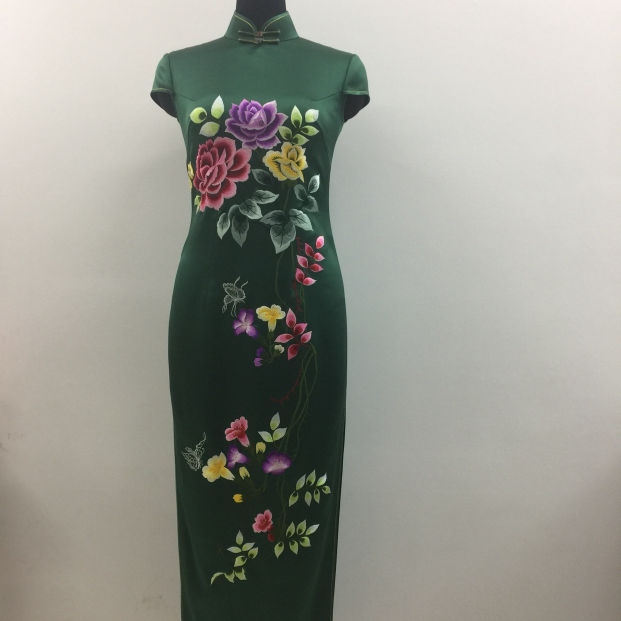 重版真丝月季花墨绿色旗袍真丝面料传统民国风