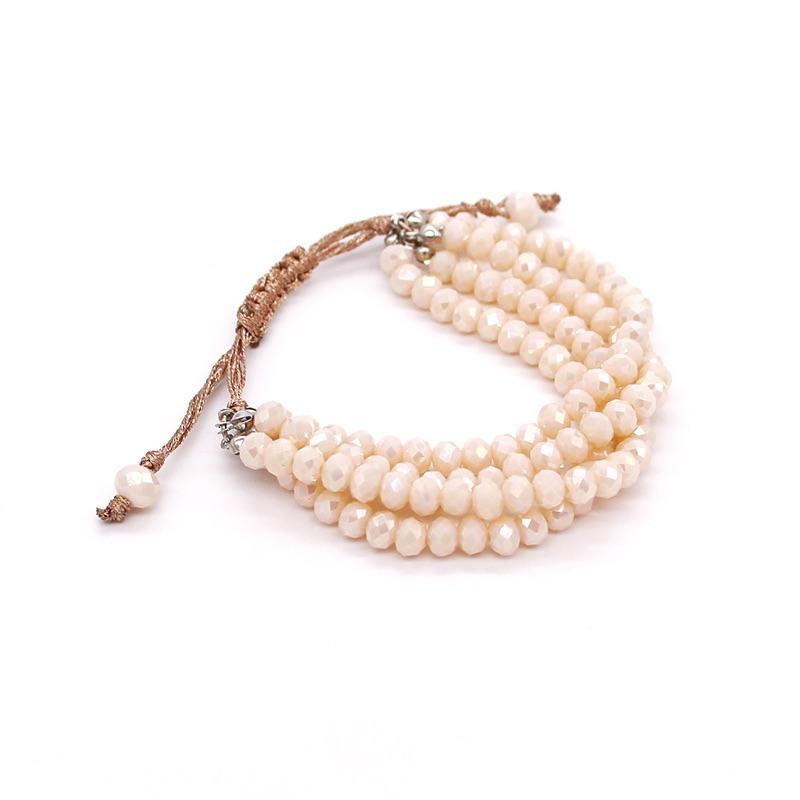 水晶珠子编织手链多种颜色可拉伸