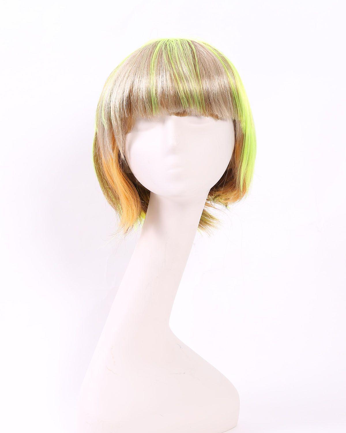 外贸热销化纤假发女彩色棕色黄色短发BOB头学生发万圣节头套批发