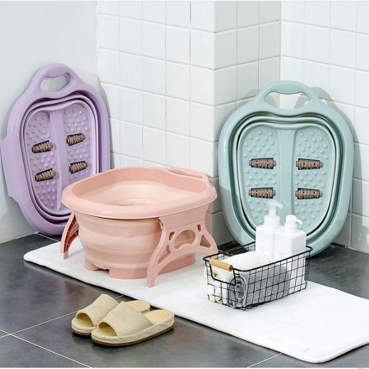 多功能硅胶折叠足浴盆 家用滚珠按摩洗脚盆 礼品赠品折叠泡脚桶
