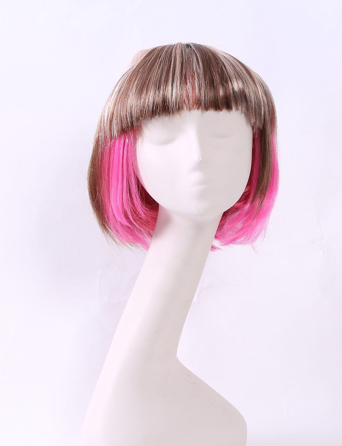 外贸热销化纤假发女浅棕带粉色短发BOB头学生发万圣节头套批发