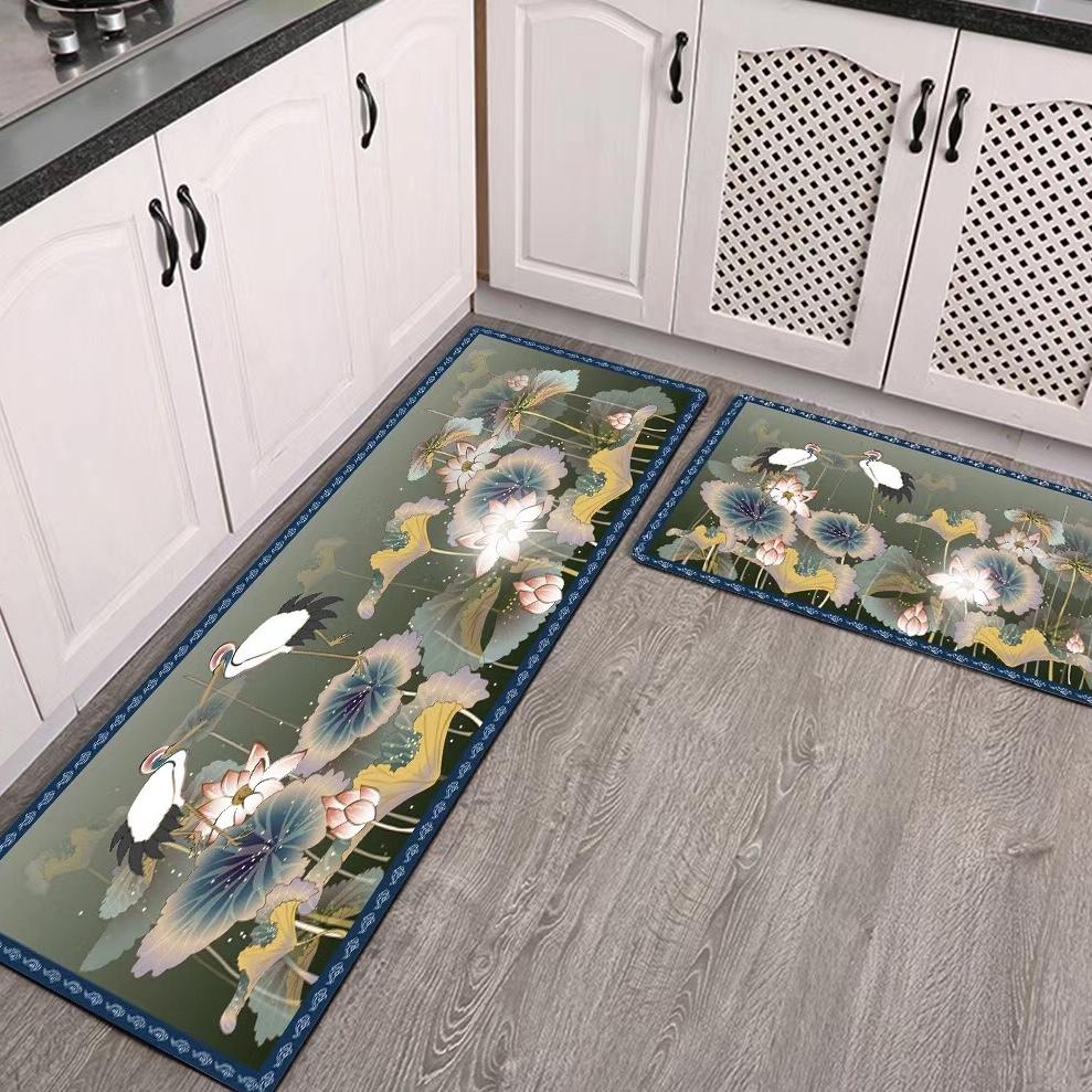 高清3D印花厨房垫新中式风格家居防滑吸水地垫