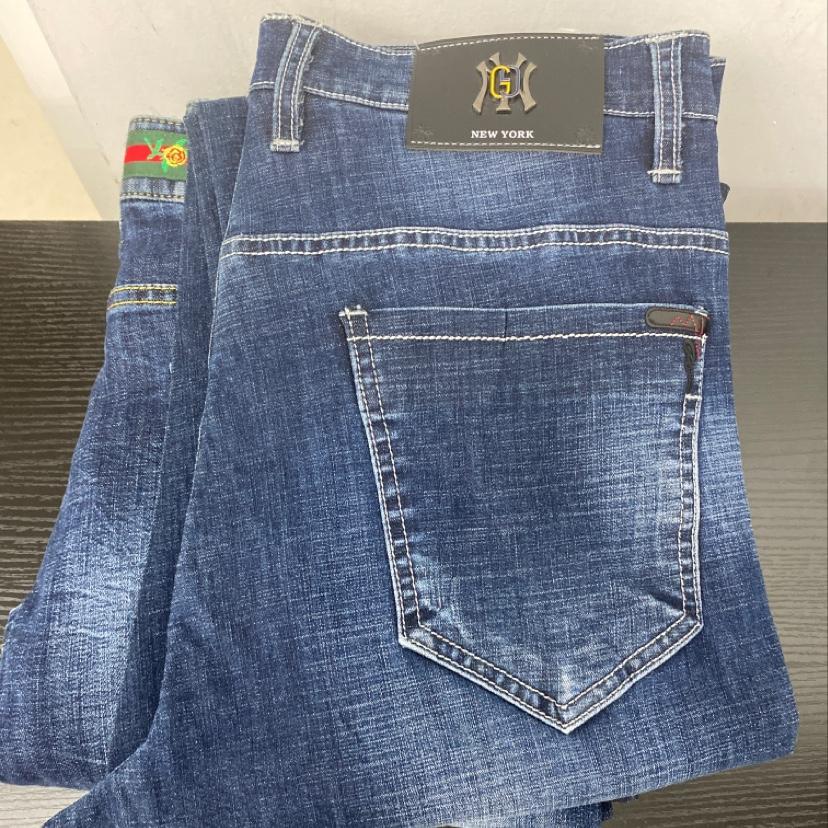 深蓝牛仔长裤男装潮休闲时尚