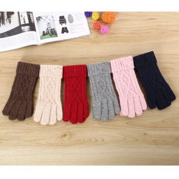 兔毛小花五指手套冬季加绒加厚时尚针织手套