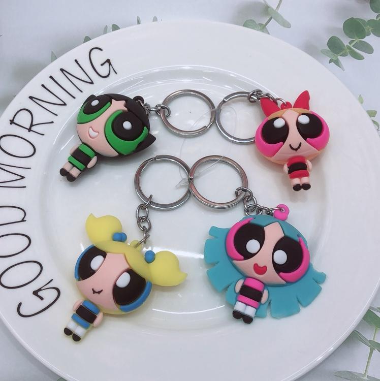 卡通动漫飞天小女警钥匙扣挂件玩偶创意汽车钥匙链女包包挂饰公仔