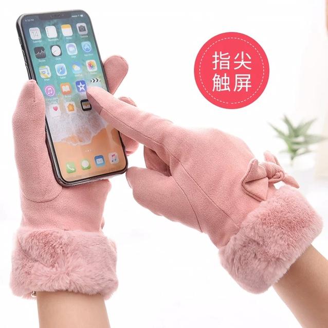 手套女冬天加绒可爱触屏韩版学生保暖加厚防寒冬季骑车麂皮绒手套