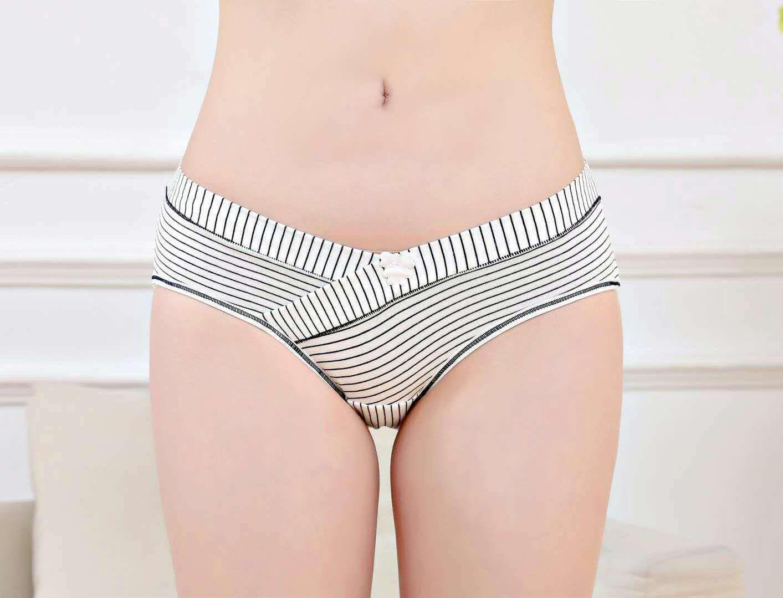 全棉印条纹孕妇低腰短裤