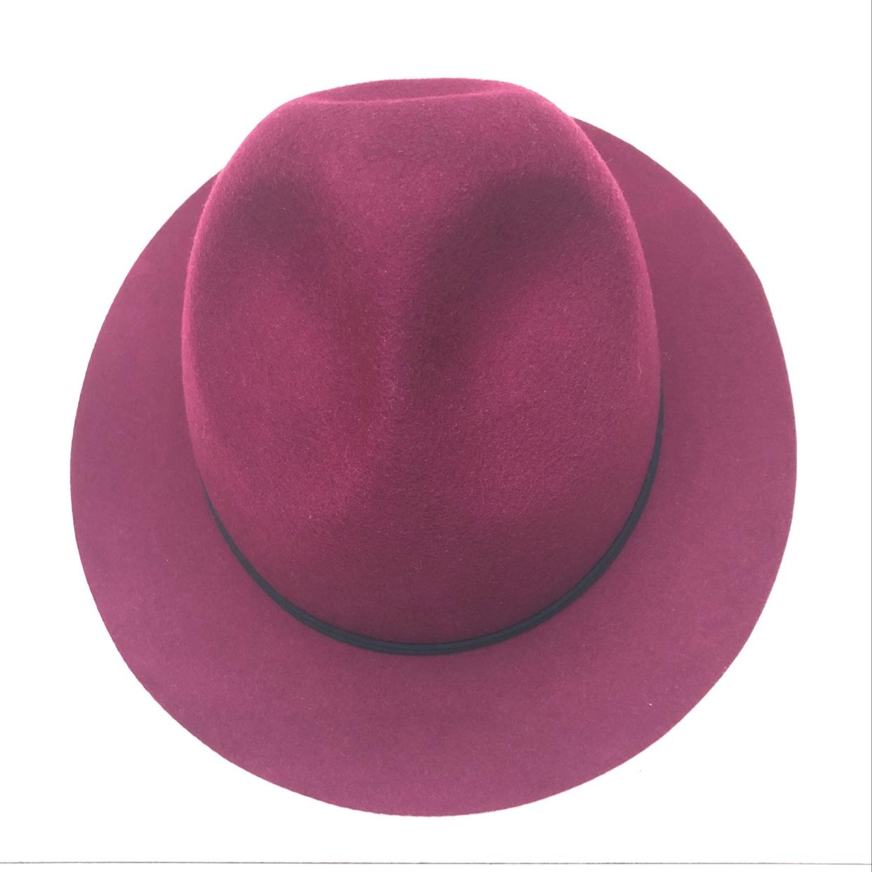 三凹造型纯羊毛礼帽,秋冬时尚潮流羊毛毡礼帽