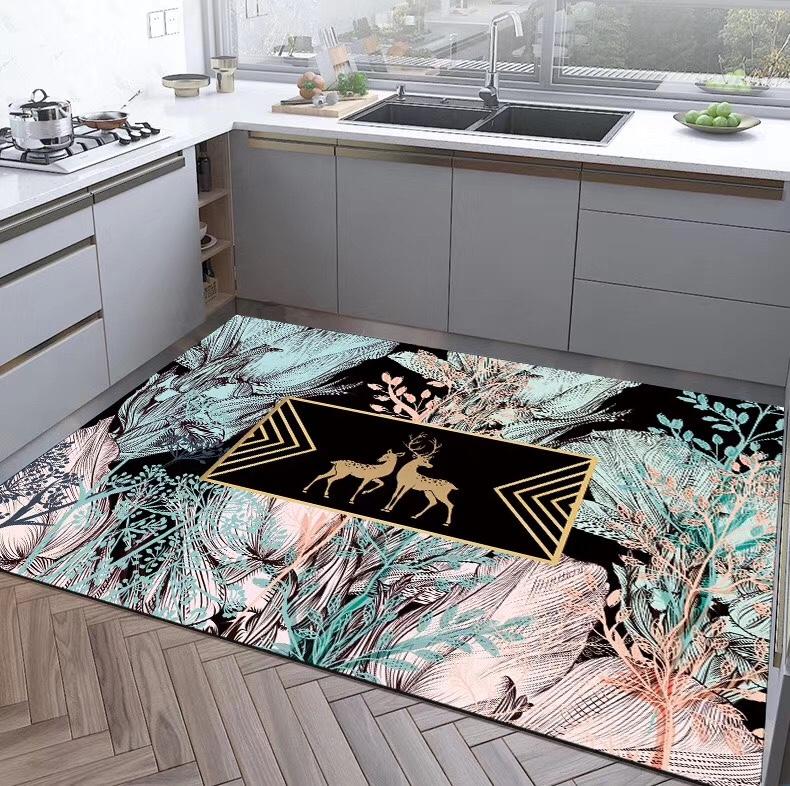 北欧风格麋鹿花草植物图案3D印花地毯电商爆款厨房垫