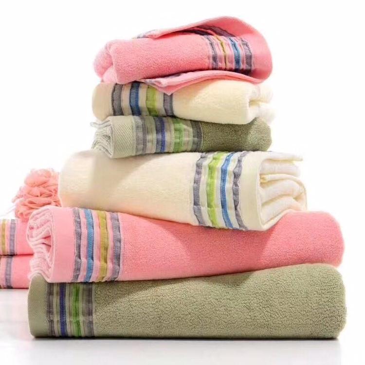 素多段彩色面巾