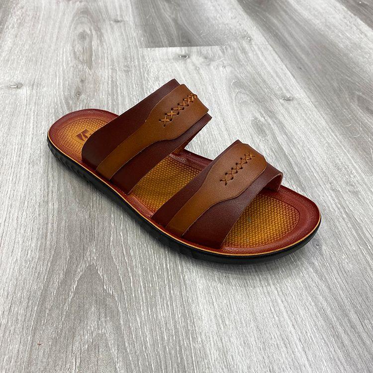 鞋子夏季男拖鞋拼色沙滩鞋超纤皮男士凉拖鞋men's pu slippers