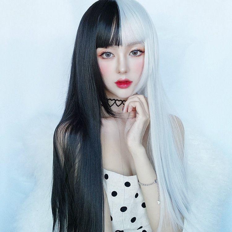 假发女空气刘海长直发黑白拼色阴阳色假发高温丝头套