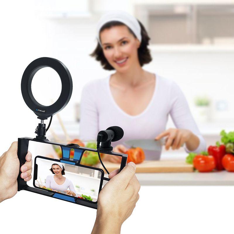 手机直播兔笼套装 带补光灯麦克风三脚架手机摄影套装