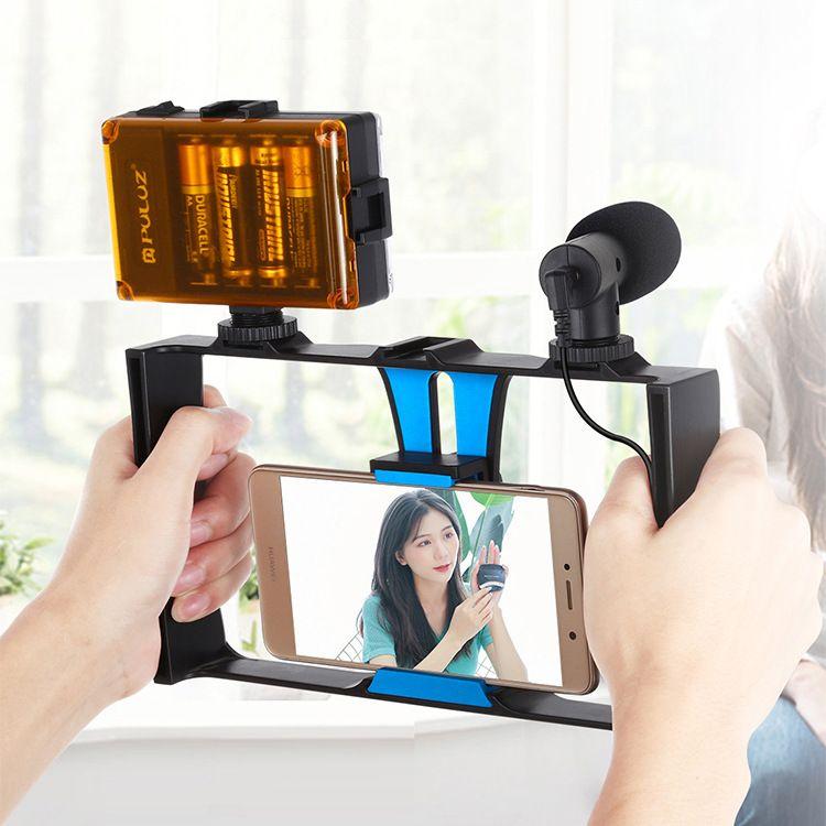 手机摄影套装 手机直播兔笼套装 带补光灯麦克风三脚架