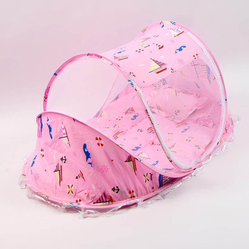 婴儿床蚊帐罩新生儿蚊帐儿童宝宝加密bb折叠小孩蚊帐蒙古包防蚊罩