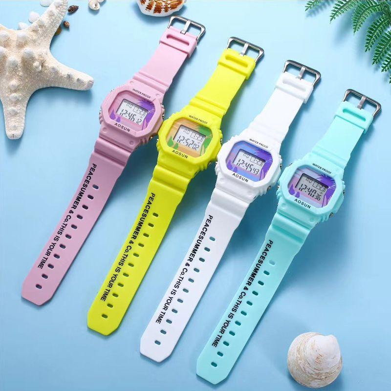 杨紫同款艺术涂鸦个性学生防水运动腕表带存钱罐创意盒子电子手表