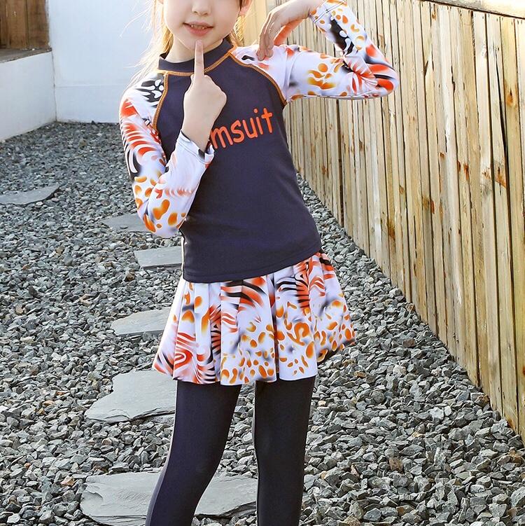 女童泳衣2020新款洋气中大童儿童泳衣女套装长袖长裤分体三件套