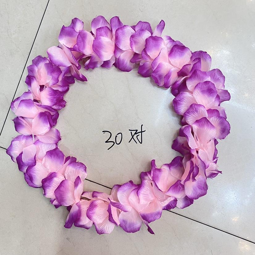 狂欢节花环 9公分30对春蕾丝布花渐变紫色