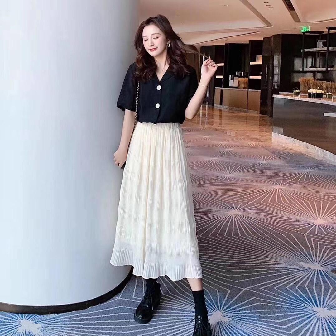 女春秋2020新款韩版高腰松紧裙
