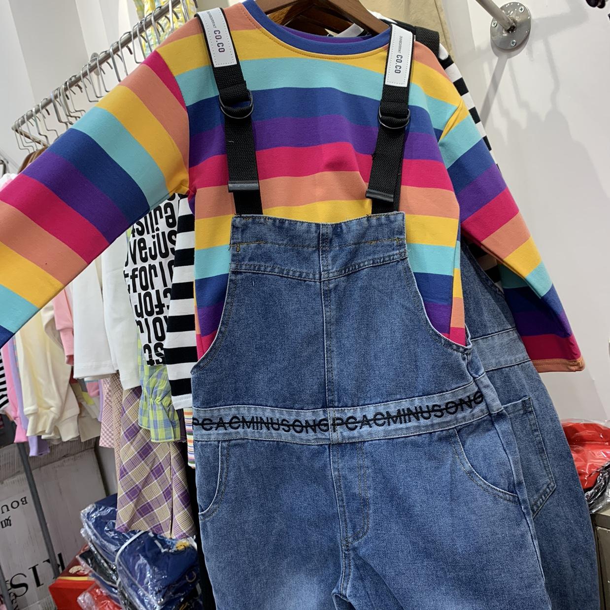 彩虹条纹牛仔连衣裤
