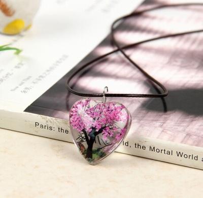 爱心时光宝石干花项链
