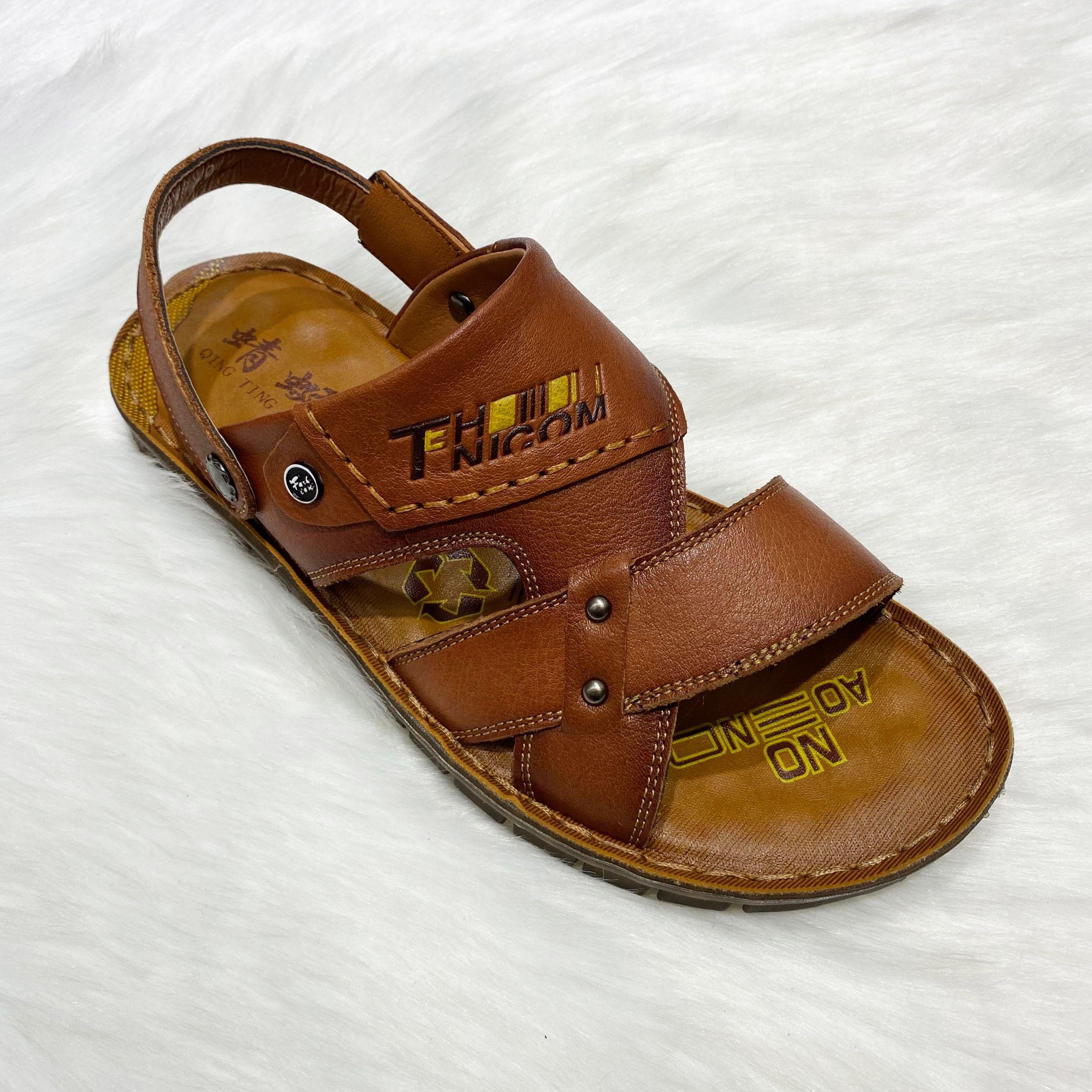 男士时尚夏季真皮休闲沙滩鞋柔软舒适男士凉拖鞋Man's sandals