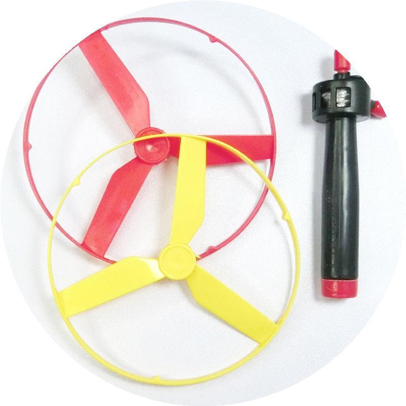 新款竹蜻蜓飞行器飞天仙子 儿童户外玩具手推拉线飞碟 怀旧飞盘