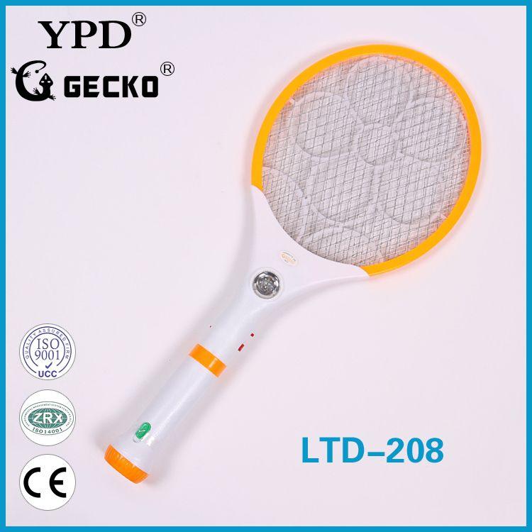 厂家直销GECKO品牌LTD-208带LED手电筒式可拆卸充电电蚊拍