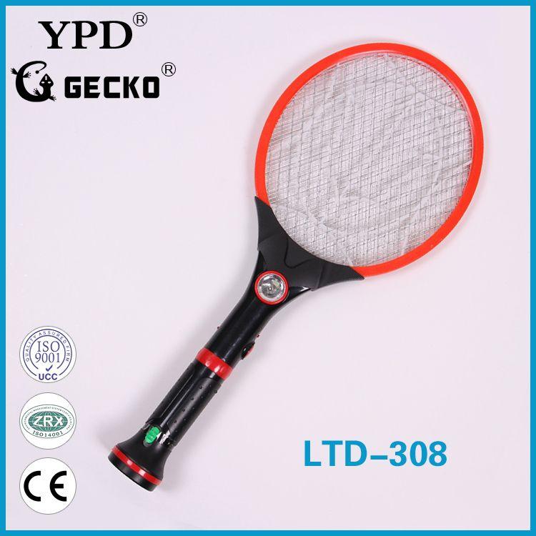 厂家直销GECKO品牌LTD-308带LED手电筒式可拆卸充电电蚊拍