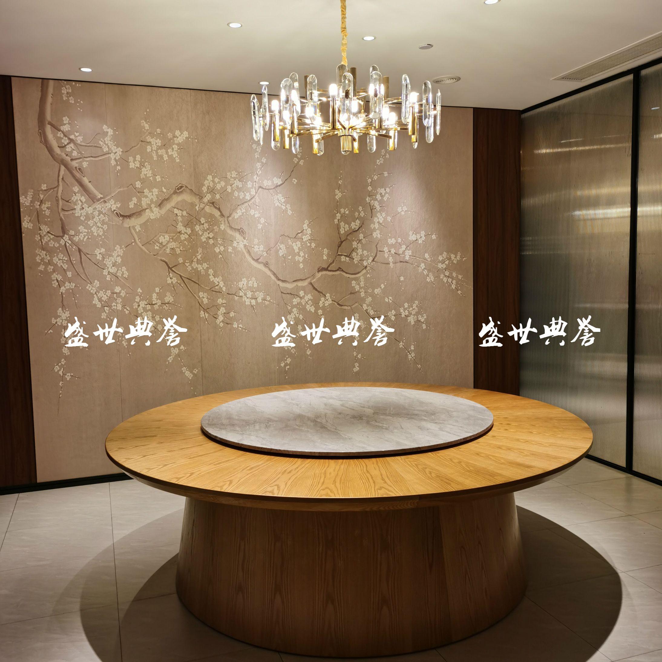 上海星级酒店餐桌椅定做饭店实木电动餐桌公司食堂电动大圆桌