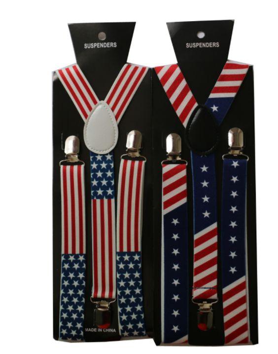 背带夹男女士欧美时尚热销款2.5cm宽三夹美国英国国旗印花吊裤带