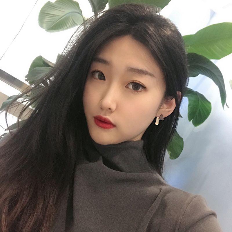 S925银针唯美韩国东大门耳钉撞色小清新淑女耳环甜美爱心耳饰ERA065-11