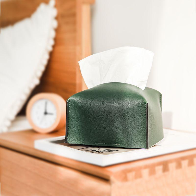 8270ins风复古简约PU皮革纸巾盒家用客厅茶风卧室纸巾抽