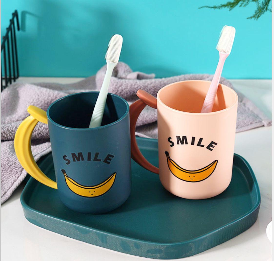 创意新品塑料漱口杯 学生家用香蕉手柄刷牙杯诚挚牙杯洗漱杯
