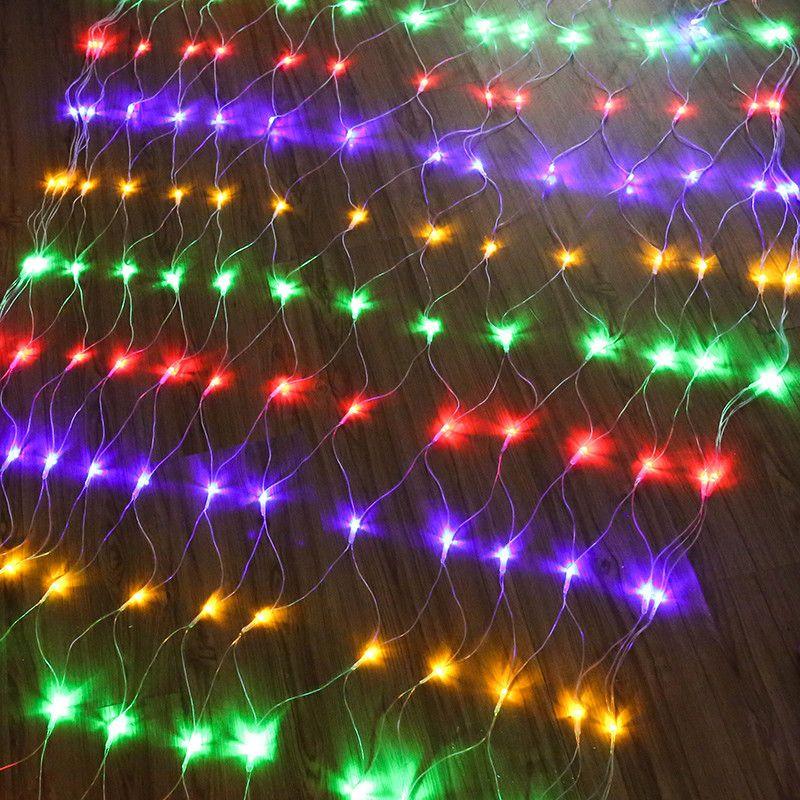 1.5*1.5米96灯led网灯渔带尾接网状树户外防水过年装饰节日小彩灯