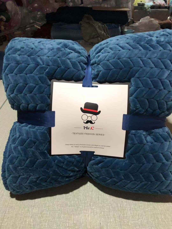 素色麦穗毯羊羔绒毛毯盖毯绒毯复合毯双层毯