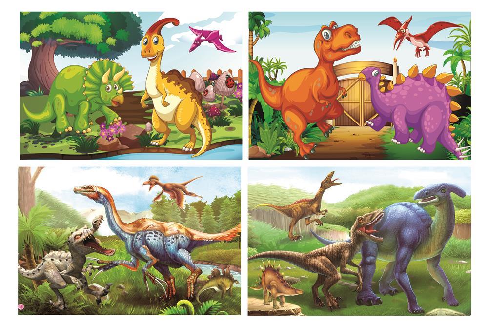 120片恐龙平面拼图 纸质拼图儿童益智玩具幼儿园智力开发学生赠品