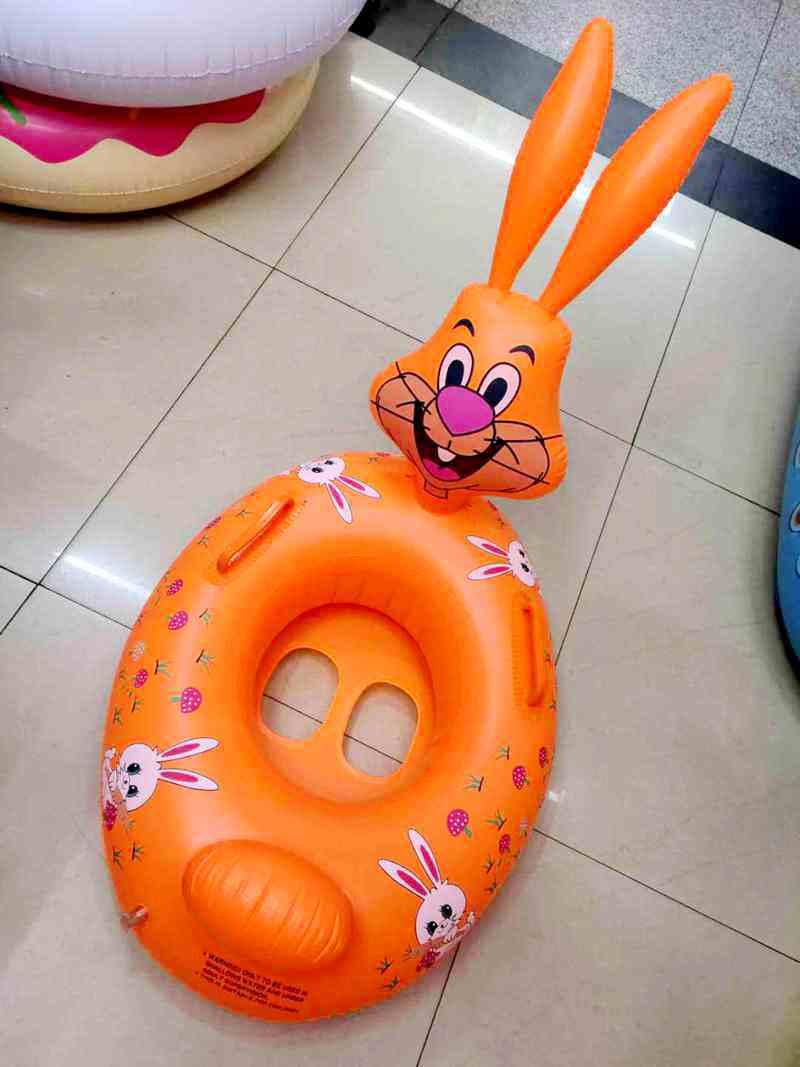 充气儿童游泳圈动物艇 兔子救生圈宝宝座圈小孩腋下圈