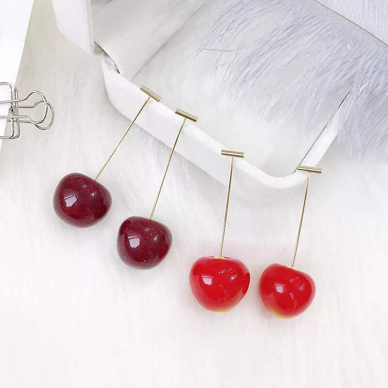 樱桃耳环女长款韩国个性网红显瘦可爱车厘子耳钉创意气质百搭耳饰