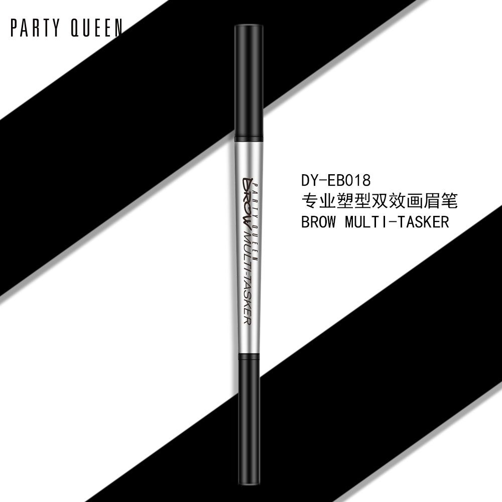 PartyQueen品牌三角+精细笔芯旋转自动双头眉笔批发防水正品彩妆
