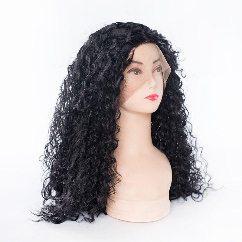 爆款长前蕾丝女生假发 化纤头套前蕾丝女士卷发假发