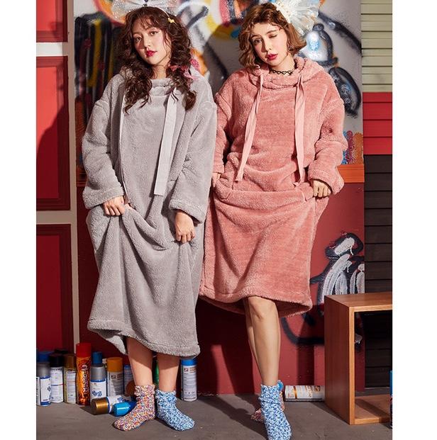 冬季珊瑚绒闺蜜装睡裙韩版长款可爱加厚保暖家居服睡袍
