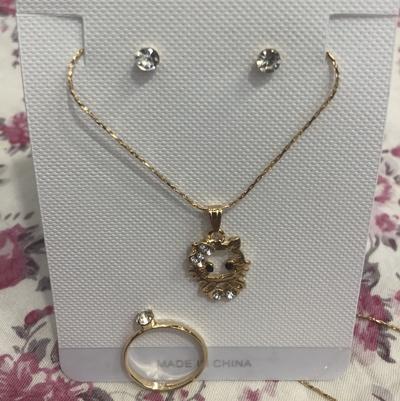 卡通哈喽KT猫项链镶钻耳钉戒指三件套项链欧美外贸项链
