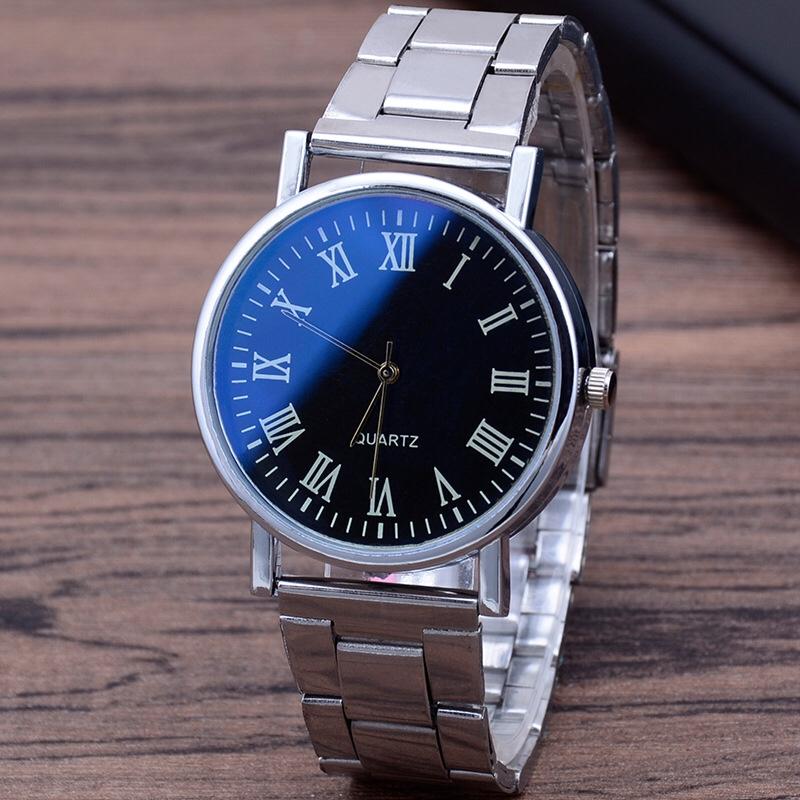 厂家直销爆款蓝光玻璃钢带手表男 三眼石英手表 礼品男士手表批发5