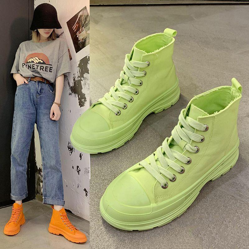 高帮帆布鞋女夏季薄款透气2020年新款韩版ulzzang百搭板鞋女ins潮