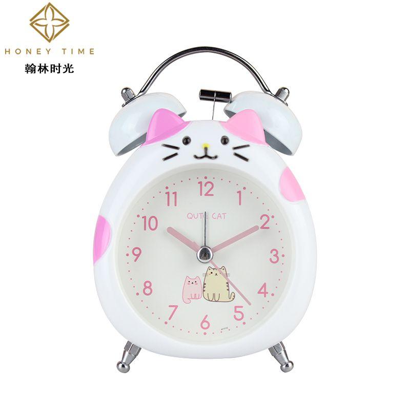 时尚可爱小猫咪打铃闹钟儿童学生床头静音扫描夜灯敲铃闹钟时钟表